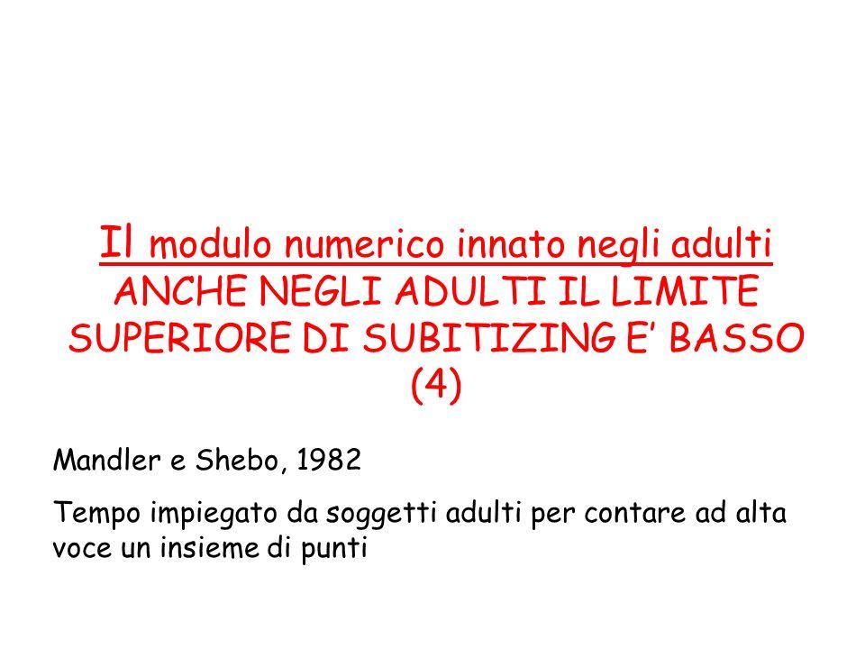 Il modulo numerico innato negli adulti ANCHE NEGLI ADULTI IL LIMITE SUPERIORE DI SUBITIZING E BASSO (4) Mandler e Shebo, 1982 Tempo impiegato da sogge