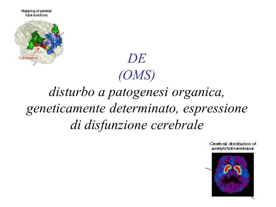 DE (OMS) disturbo a patogenesi organica, geneticamente determinato, espressione di disfunzione cerebrale