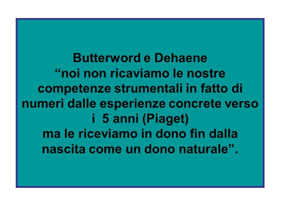 Butterword e Dehaene noi non ricaviamo le nostre competenze strumentali in fatto di numeri dalle esperienze concrete verso i 5 anni (Piaget) ma le riceviamo in dono fin dalla nascita come un dono naturale.