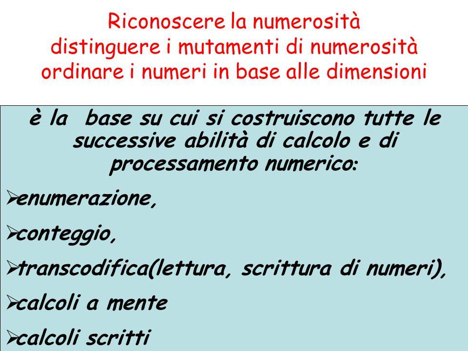 Riconoscere la numerosità distinguere i mutamenti di numerosità ordinare i numeri in base alle dimensioni è la base su cui si costruiscono tutte le successive abilità di calcolo e di processamento numerico : enumerazione, conteggio, transcodifica(lettura, scrittura di numeri), calcoli a mente calcoli scritti