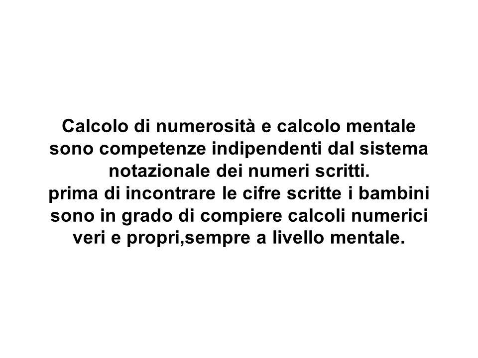 Calcolo di numerosità e calcolo mentale sono competenze indipendenti dal sistema notazionale dei numeri scritti. prima di incontrare le cifre scritte