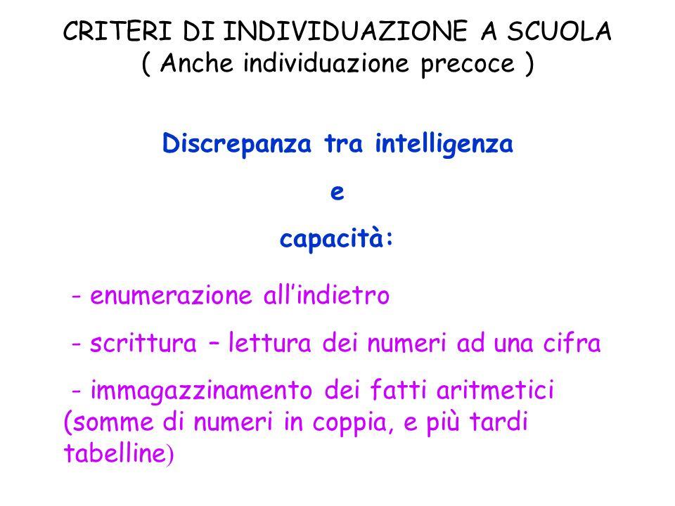 CRITERI DI INDIVIDUAZIONE A SCUOLA ( Anche individuazione precoce ) Discrepanza tra intelligenza e capacità: - enumerazione allindietro - scrittura –