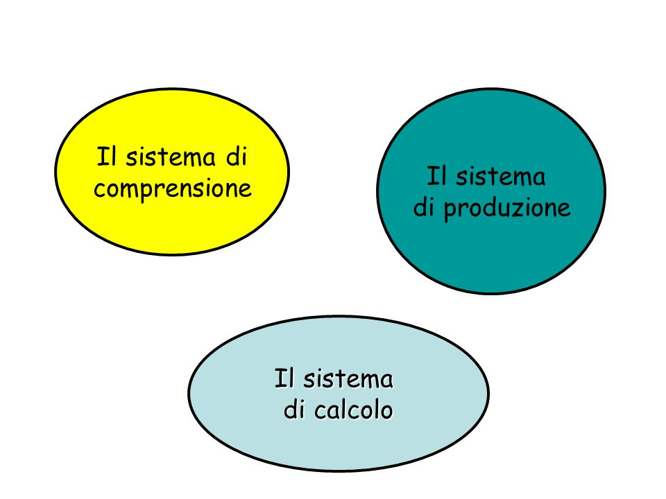 Il sistema di produzione Il sistema di comprensione Il sistema di calcolo
