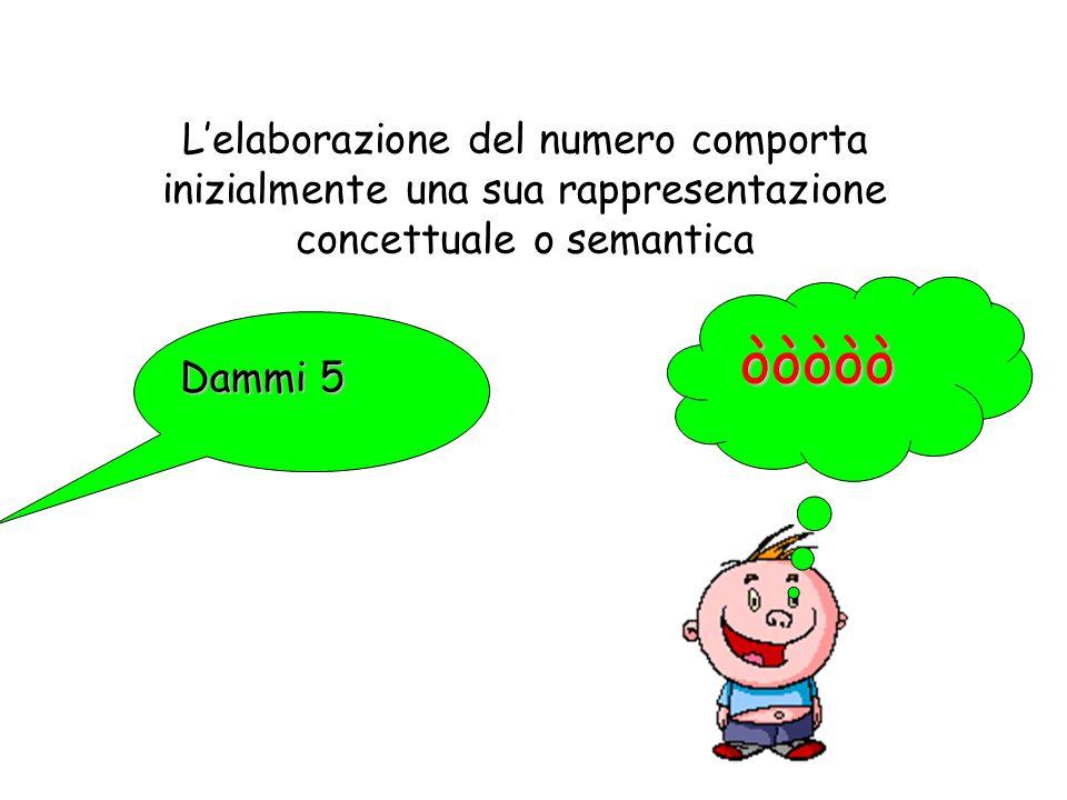 Lelaborazione del numero comporta inizialmente una sua rappresentazione concettuale o semantica òòòòò Dammi 5