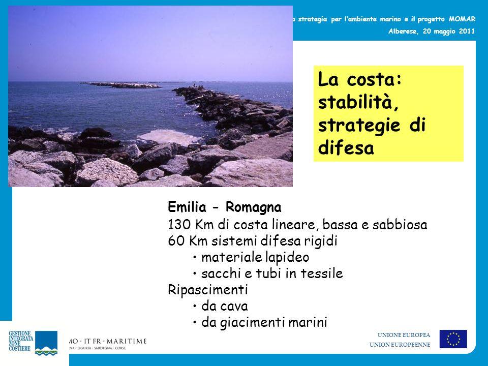 UNIONE EUROPEA UNION EUROPEENNE La strategia per lambiente marino e il progetto MOMAR Alberese, 20 maggio 2011 La costa: stabilità, strategie di difes