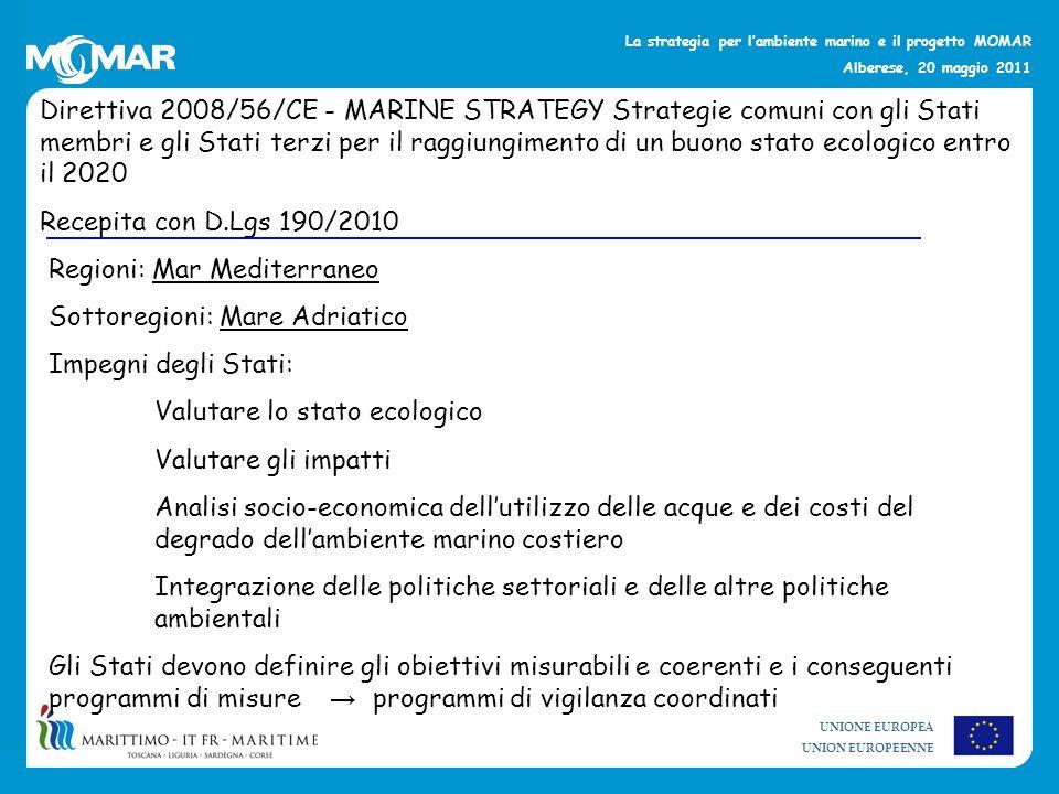UNIONE EUROPEA UNION EUROPEENNE La strategia per lambiente marino e il progetto MOMAR Alberese, 20 maggio 2011 Direttiva 2008/56/CE - MARINE STRATEGY