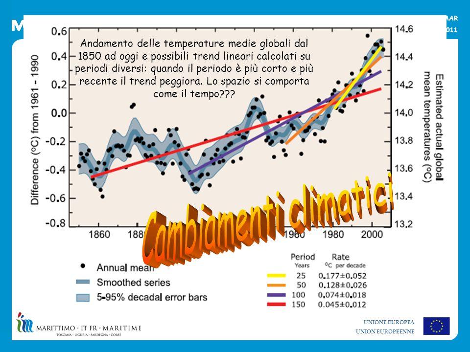 UNIONE EUROPEA UNION EUROPEENNE La strategia per lambiente marino e il progetto MOMAR Alberese, 20 maggio 2011 Andamento delle temperature medie globa