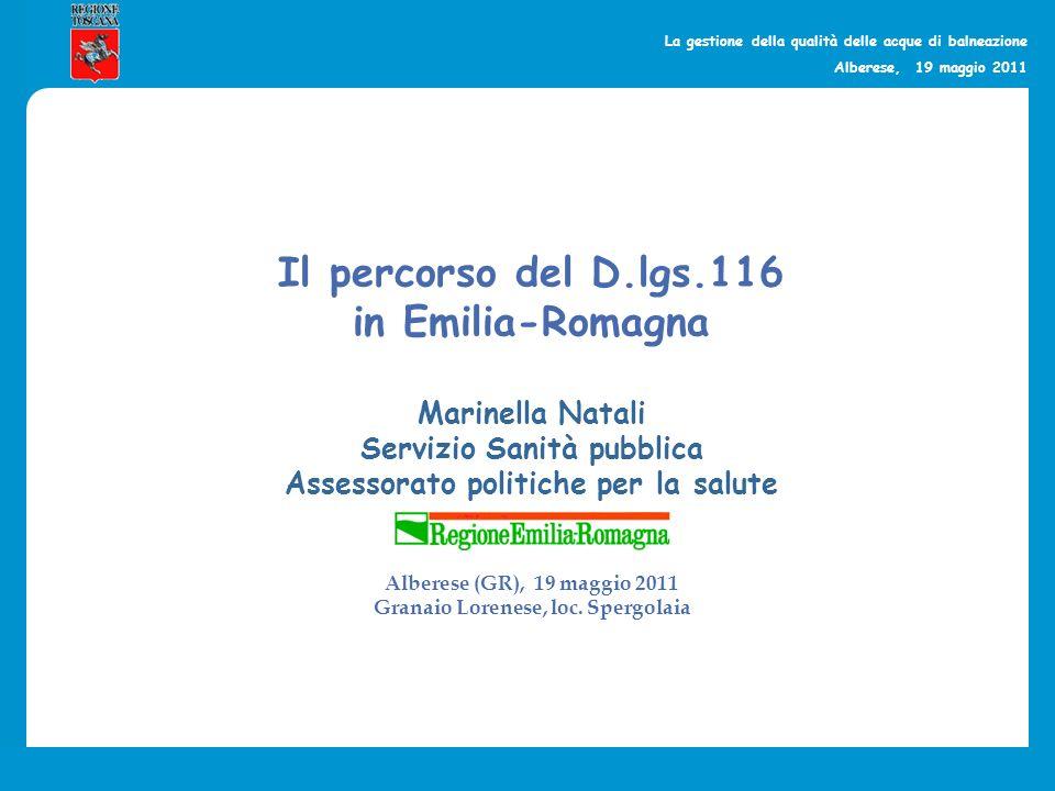 La gestione della qualità delle acque di balneazione Alberese, 19 maggio 2011 4 Province, 12 Comuni, 9 Bandiere blu nel 2011 Marinella Natali – Servizio sanità pubblica