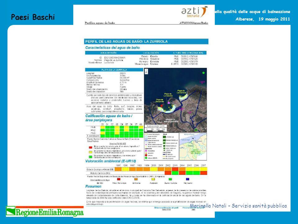La gestione della qualità delle acque di balneazione Alberese, 19 maggio 2011 Paesi Baschi Marinella Natali – Servizio sanità pubblica