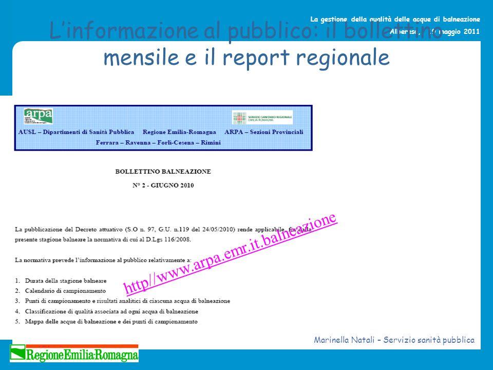 La gestione della qualità delle acque di balneazione Alberese, 19 maggio 2011 Linformazione al pubblico: il bollettino mensile e il report regionale h
