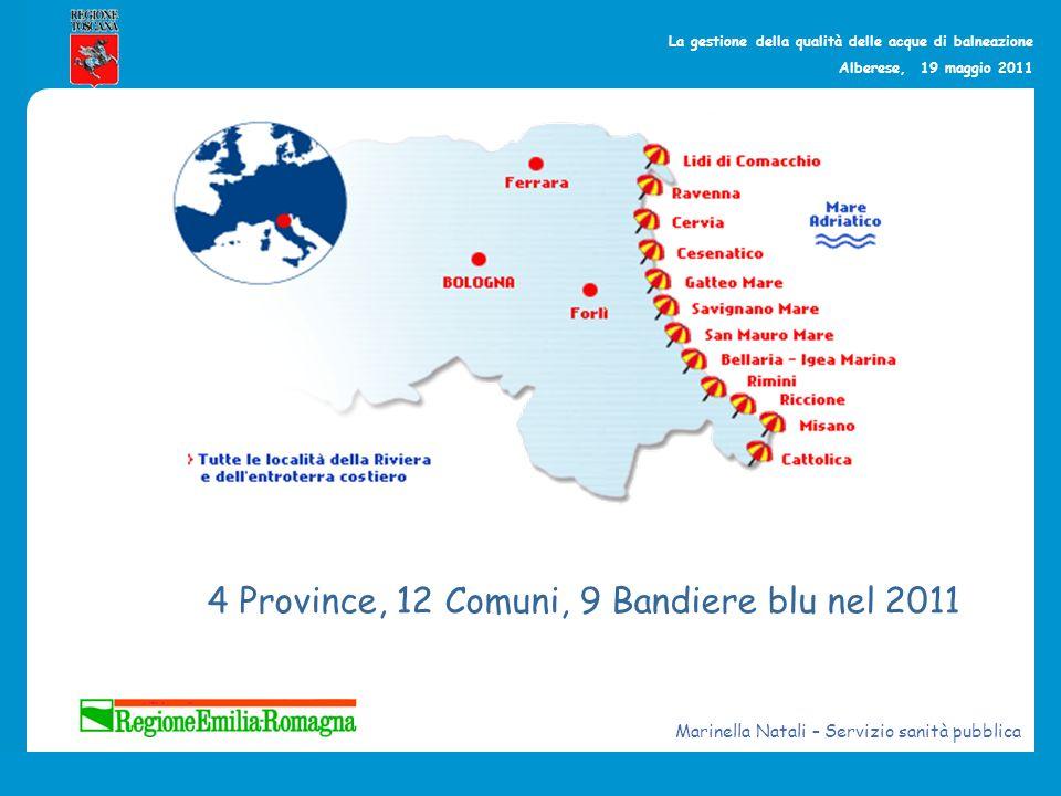 La gestione della qualità delle acque di balneazione Alberese, 19 maggio 2011 4 Province, 12 Comuni, 9 Bandiere blu nel 2011 Marinella Natali – Serviz