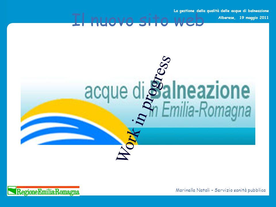 La gestione della qualità delle acque di balneazione Alberese, 19 maggio 2011 Il nuovo sito web Work in progress Marinella Natali – Servizio sanità pu