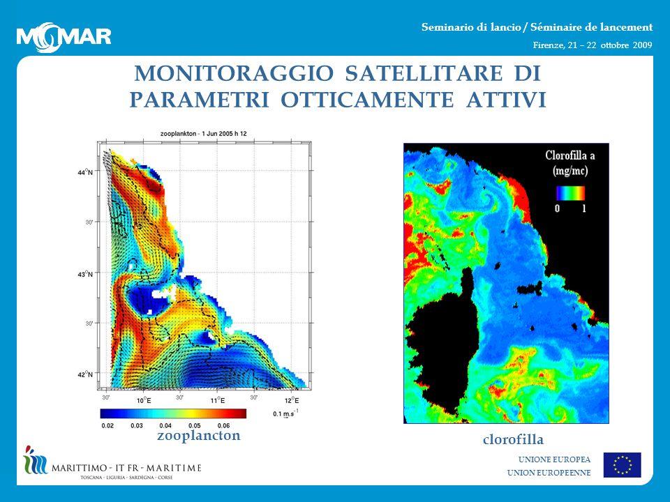 UNIONE EUROPEA UNION EUROPEENNE Seminario di lancio / Séminaire de lancement Firenze, 21 – 22 ottobre 2009 MONITORAGGIO SATELLITARE DI PARAMETRI OTTICAMENTE ATTIVI zooplancton clorofilla