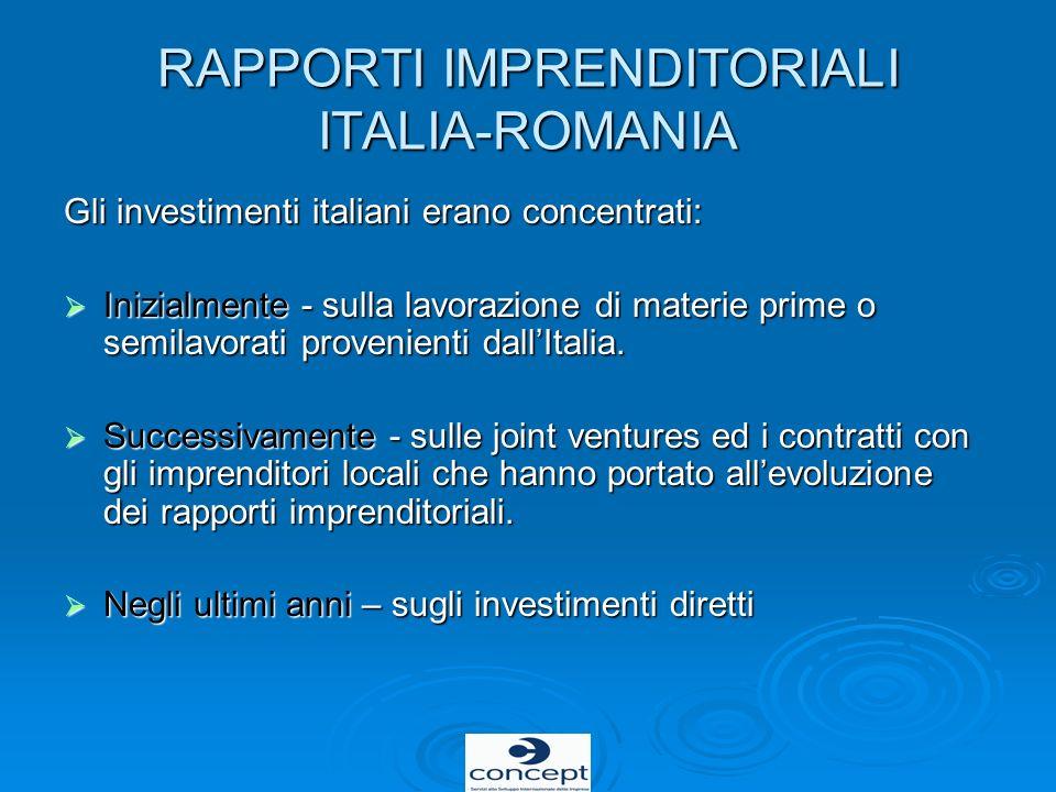 RAPPORTI IMPRENDITORIALI ITALIA-ROMANIA Gli investimenti italiani erano concentrati: Inizialmente - sulla lavorazione di materie prime o semilavorati