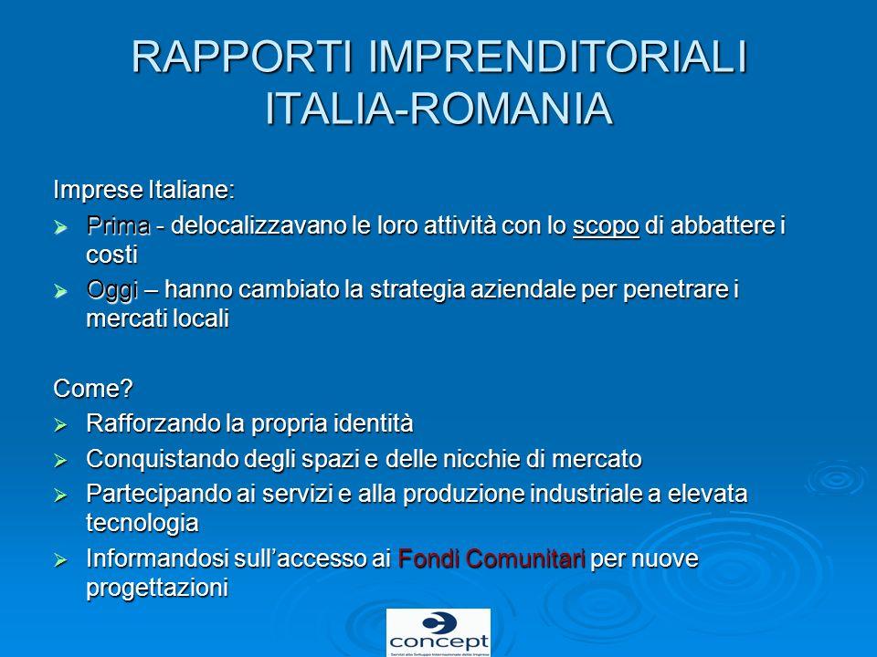 RAPPORTI IMPRENDITORIALI ITALIA-ROMANIA Imprese Italiane: Prima - delocalizzavano le loro attività con lo scopo di abbattere i costi Prima - delocaliz