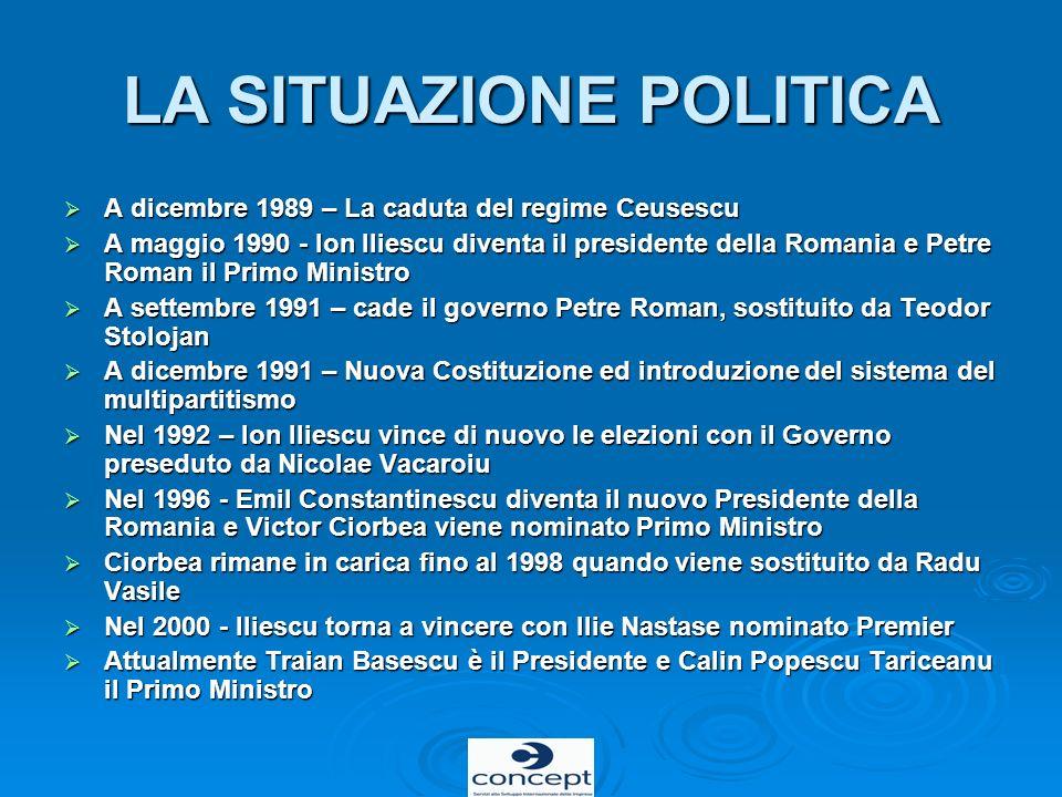 LA SITUAZIONE POLITICA A dicembre 1989 – La caduta del regime Ceusescu A dicembre 1989 – La caduta del regime Ceusescu A maggio 1990 - Ion Iliescu div