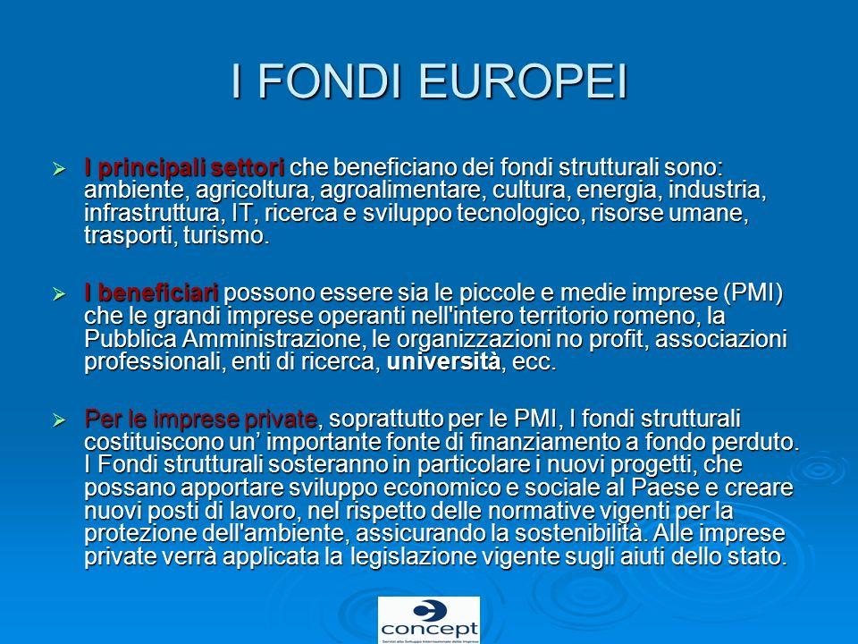 I FONDI EUROPEI I principali settori che beneficiano dei fondi strutturali sono: ambiente, agricoltura, agroalimentare, cultura, energia, industria, i