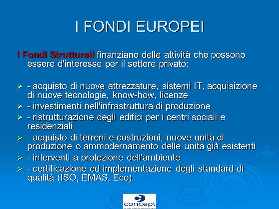 I FONDI EUROPEI I Fondi Strutturali finanziano delle attività che possono essere d'interesse per il settore privato: - acquisto di nuove attrezzature,