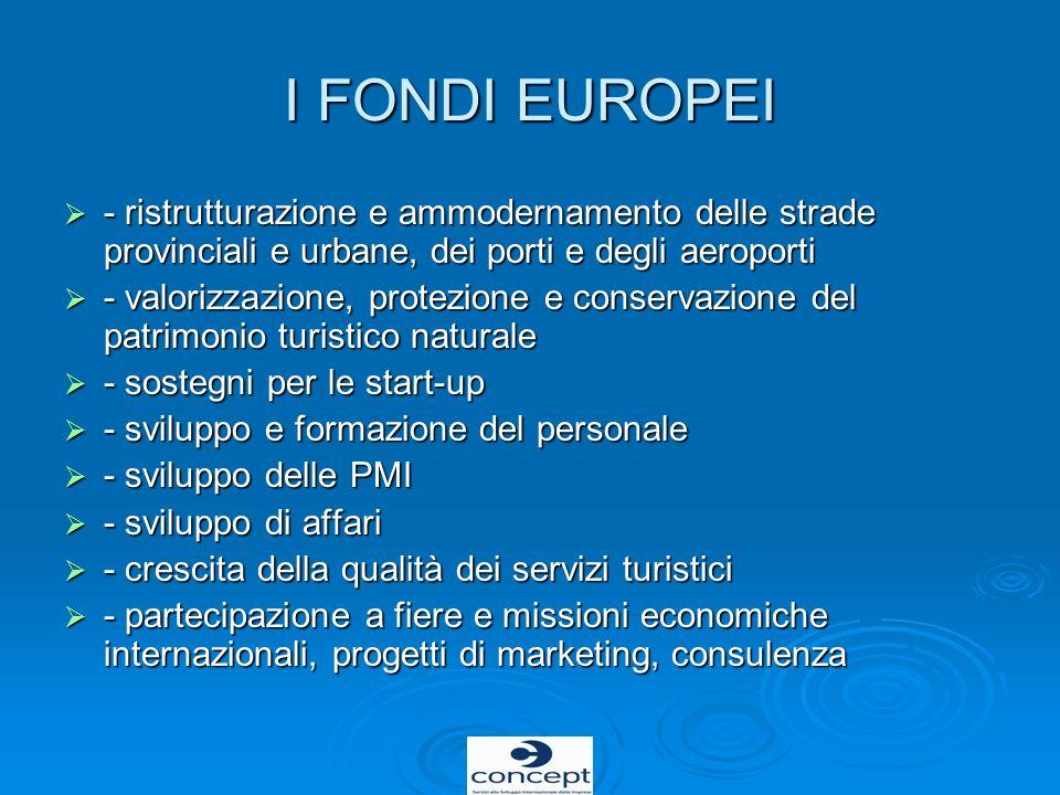 I FONDI EUROPEI - ristrutturazione e ammodernamento delle strade provinciali e urbane, dei porti e degli aeroporti - ristrutturazione e ammodernamento