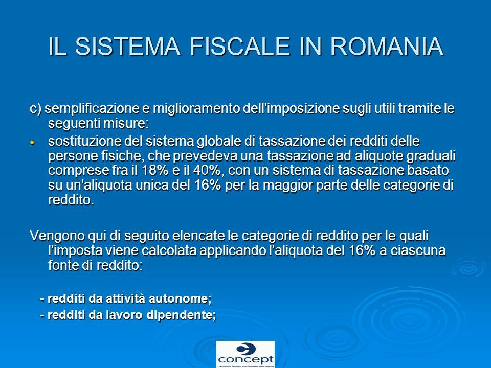IL SISTEMA FISCALE IN ROMANIA c) semplificazione e miglioramento dell'imposizione sugli utili tramite le seguenti misure: sostituzione del sistema glo
