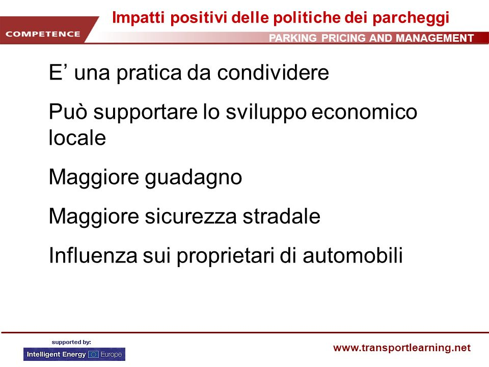 PARKING PRICING AND MANAGEMENT www.transportlearning.net Lavoro Lavoro individuale.