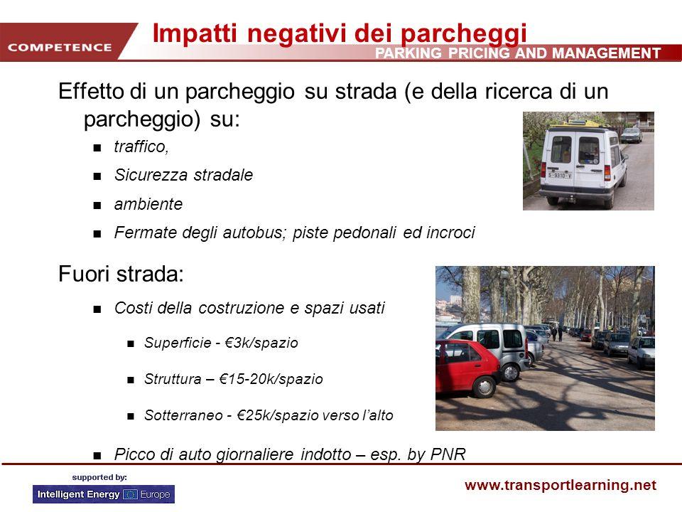 PARKING PRICING AND MANAGEMENT www.transportlearning.net Lavoro Per la tua città o paese, quali sono le problematiche chiave legate ai parcheggi.