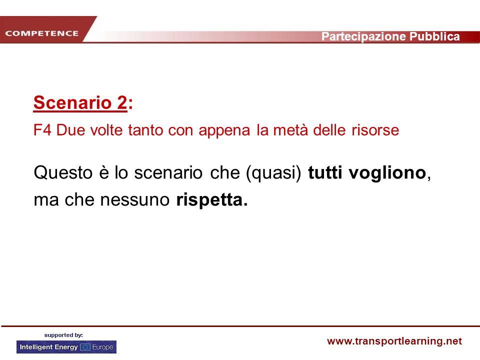 Partecipazione Pubblica www.transportlearning.net Scenario 2: F4 Due volte tanto con appena la metà delle risorse Questo è lo scenario che (quasi) tutti vogliono, ma che nessuno rispetta.