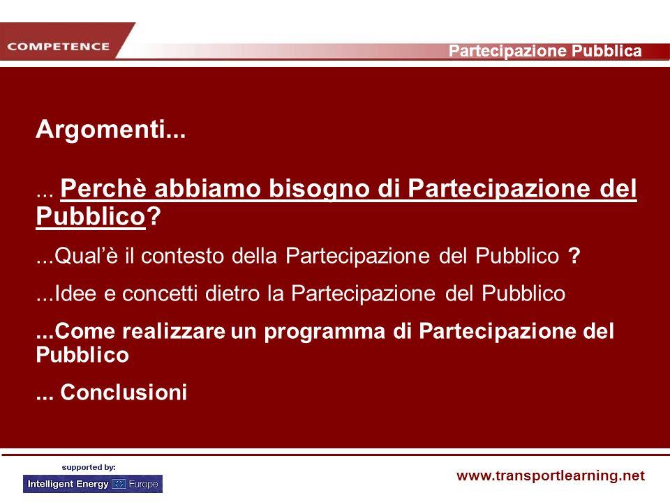 Partecipazione Pubblica www.transportlearning.net Argomenti......