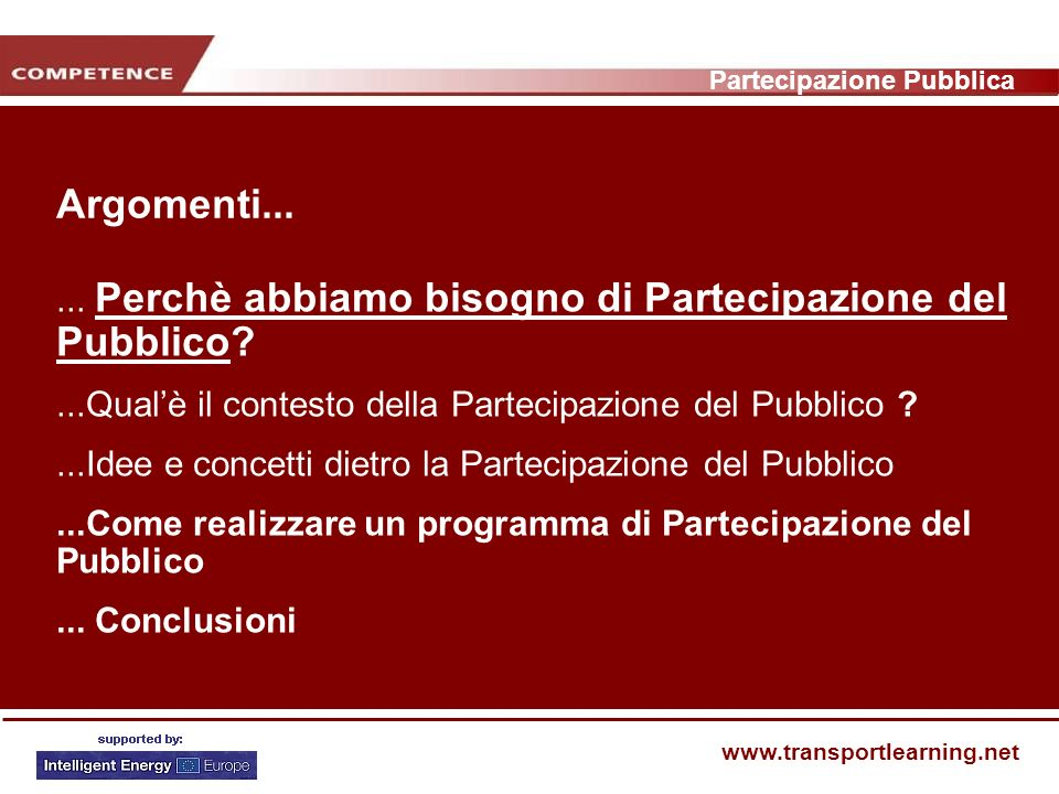 Partecipazione Pubblica www.transportlearning.net Fase 1.