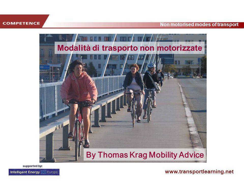 www.transportlearning.net Non motorised modes of transport Argomenti di convincimen to Allenamento Persona (+ scarpe) Nuovo percosro a piedi Nuovo percorso in bici Persona + bici Il lavoro