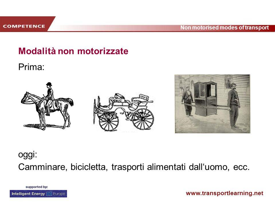 www.transportlearning.net Non motorised modes of transport Modalità non motorizzate Prima: oggi: Camminare, bicicletta, trasporti alimentati dalluomo, ecc.