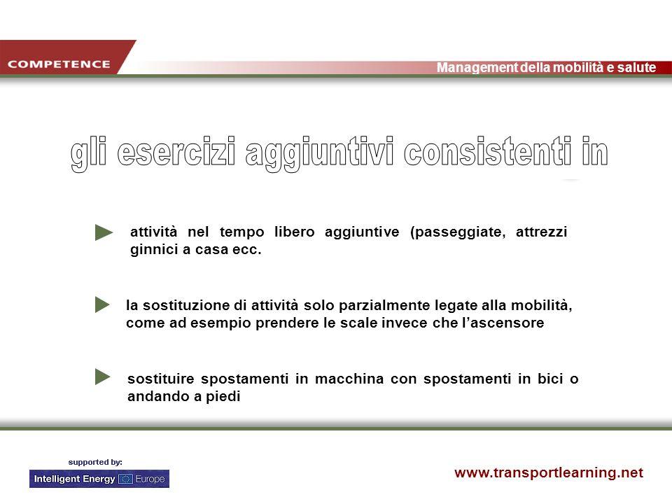 www.transportlearning.net Management della mobilità e salute attività nel tempo libero aggiuntive (passeggiate, attrezzi ginnici a casa ecc.