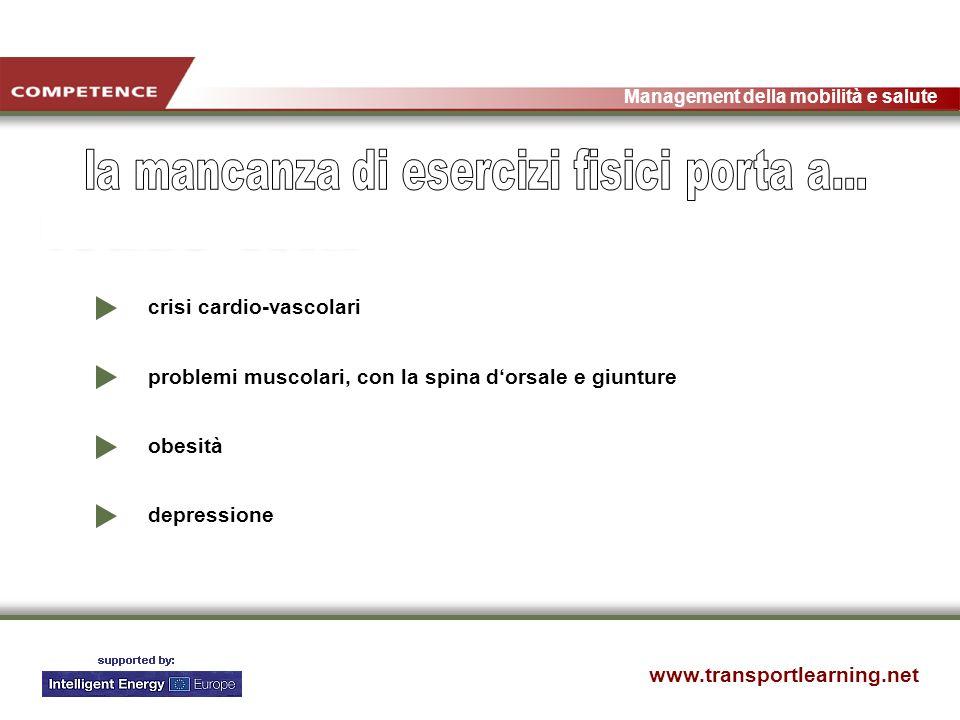 www.transportlearning.net Management della mobilità e salute crisi cardio-vascolari problemi muscolari, con la spina dorsale e giunture obesità depressione