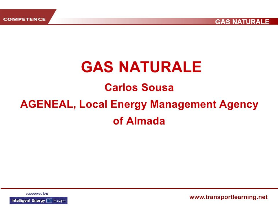 GAS NATURALE www.transportlearning.net GAS NATURALE Carlos Sousa AGENEAL, Local Energy Management Agency of Almada