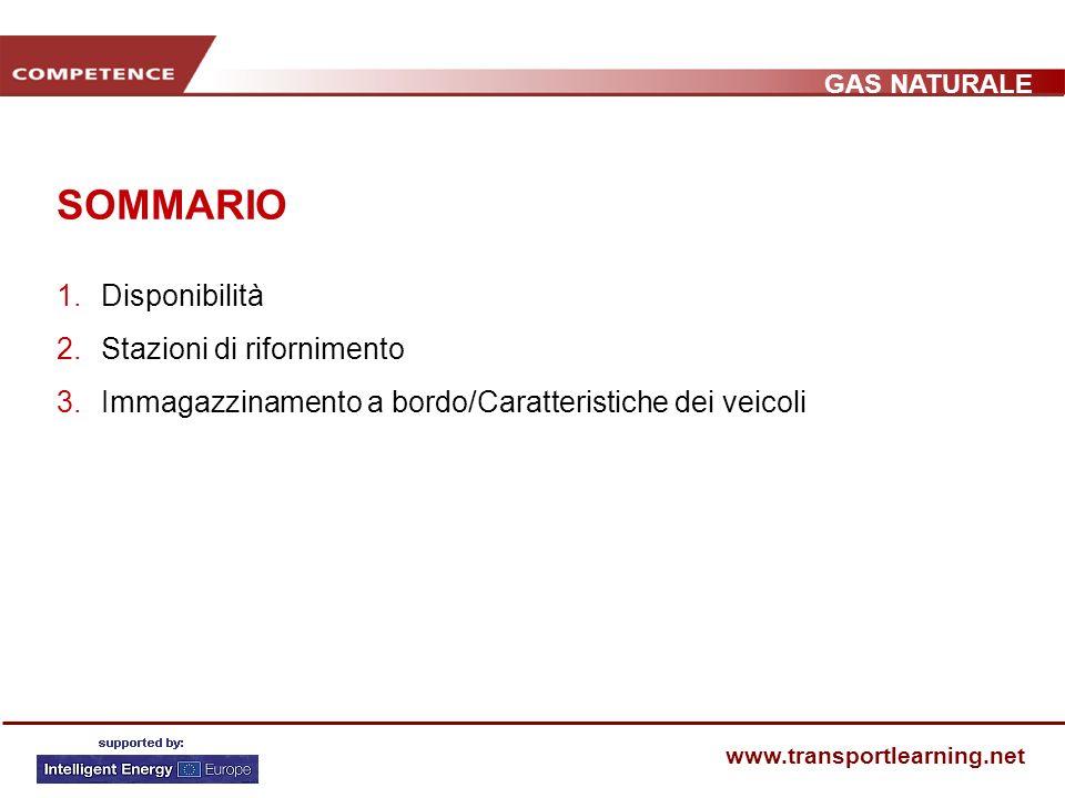 GAS NATURALE www.transportlearning.net SOMMARIO 1.Disponibilità 2.Stazioni di rifornimento 3.Immagazzinamento a bordo/Caratteristiche dei veicoli