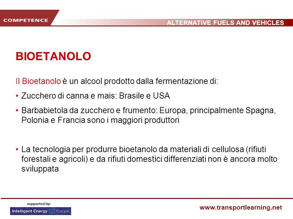 ALTERNATIVE FUELS AND VEHICLES www.transportlearning.net BIOETANOLO Il Bioetanolo è un alcool prodotto dalla fermentazione di: Zucchero di canna e mai