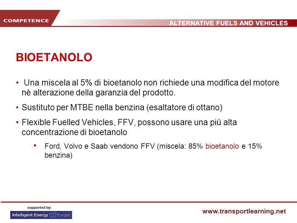 ALTERNATIVE FUELS AND VEHICLES www.transportlearning.net BIOETANOLO Una miscela al 5% di bioetanolo non richiede una modifica del motore nè alterazion