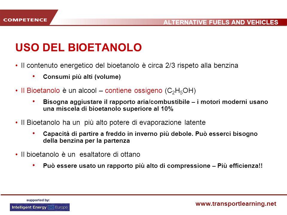 ALTERNATIVE FUELS AND VEHICLES www.transportlearning.net USO DEL BIOETANOLO Il contenuto energetico del bioetanolo è circa 2/3 rispeto alla benzina Co