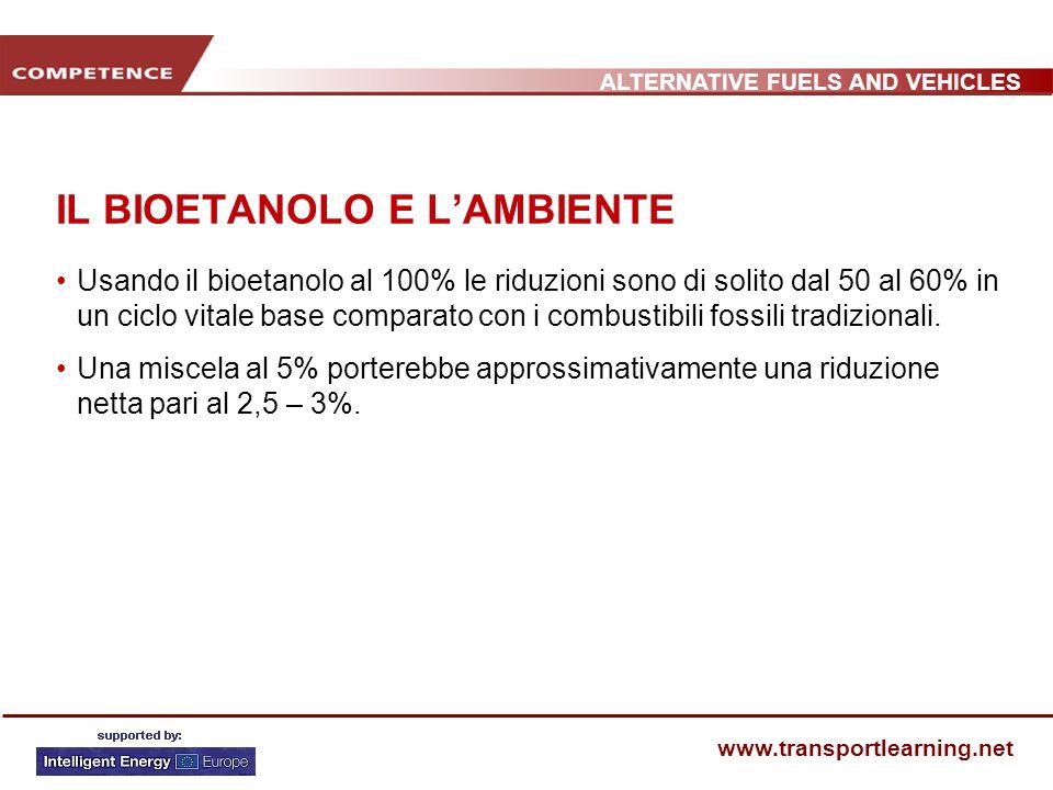 ALTERNATIVE FUELS AND VEHICLES www.transportlearning.net IL BIOETANOLO E LAMBIENTE Usando il bioetanolo al 100% le riduzioni sono di solito dal 50 al