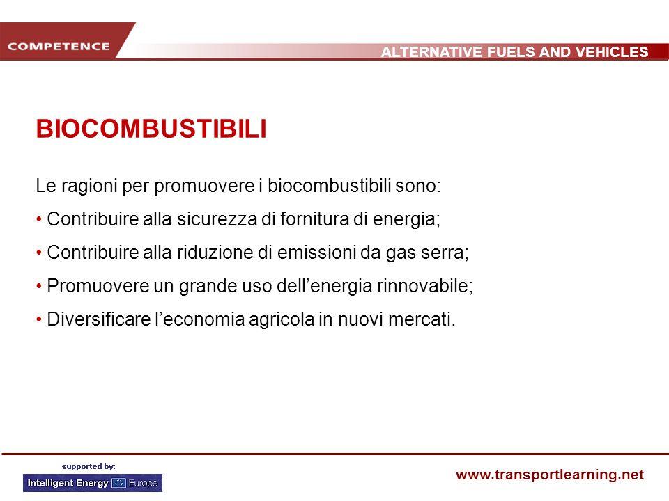 ALTERNATIVE FUELS AND VEHICLES www.transportlearning.net BIOCOMBUSTIBILI Le ragioni per promuovere i biocombustibili sono: Contribuire alla sicurezza