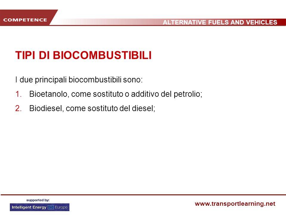ALTERNATIVE FUELS AND VEHICLES www.transportlearning.net TIPI DI BIOCOMBUSTIBILI I due principali biocombustibili sono: 1. Bioetanolo, come sostituto