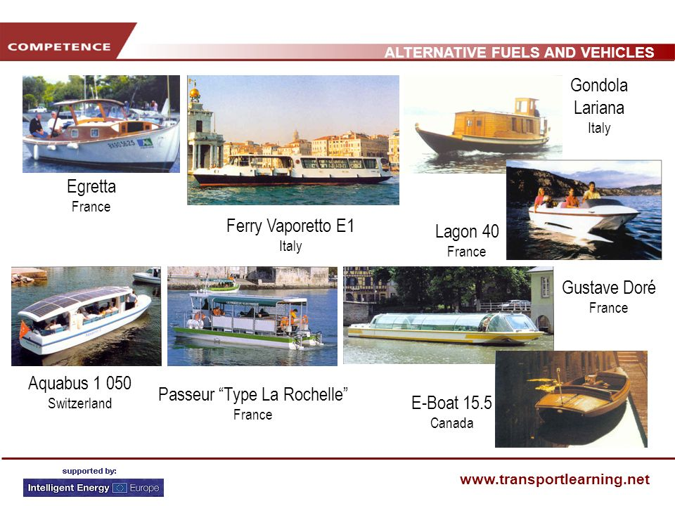 ALTERNATIVE FUELS AND VEHICLES www.transportlearning.net Aquabus 1 050 Switzerland Egretta France Gustave Doré France Ferry Vaporetto E1 Italy Lagon 40 France Passeur Type La Rochelle France Gondola Lariana Italy E-Boat 15.5 Canada