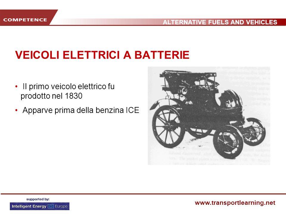 ALTERNATIVE FUELS AND VEHICLES www.transportlearning.net VEICOLI ELETTRICI A BATTERIE Il primo veicolo elettrico fu prodotto nel 1830 Apparve prima della benzina ICE
