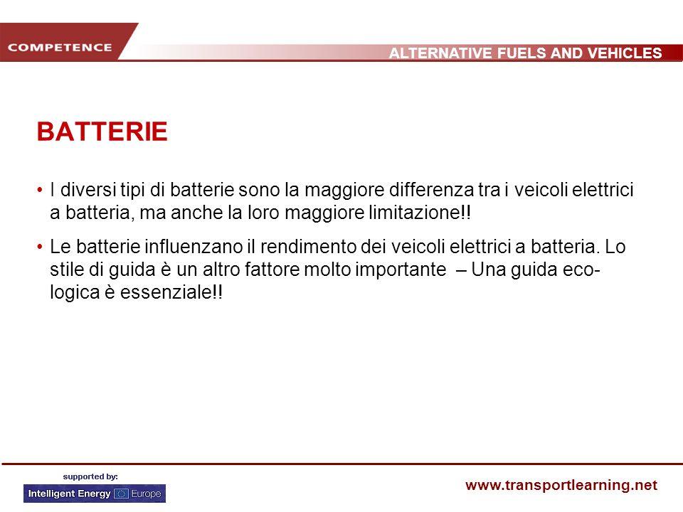 ALTERNATIVE FUELS AND VEHICLES www.transportlearning.net BATTERIE I diversi tipi di batterie sono la maggiore differenza tra i veicoli elettrici a batteria, ma anche la loro maggiore limitazione!.