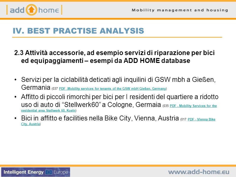 IV. BEST PRACTISE ANALYSIS 2.3 Attività accessorie, ad esempio servizi di riparazione per bici ed equipaggiamenti – esempi da ADD HOME database Serviz