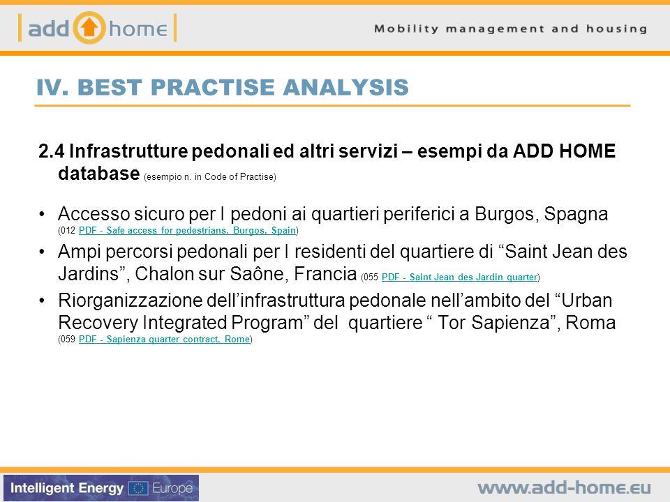 IV. BEST PRACTISE ANALYSIS 2.4 Infrastrutture pedonali ed altri servizi – esempi da ADD HOME database (esempio n. in Code of Practise) Accesso sicuro