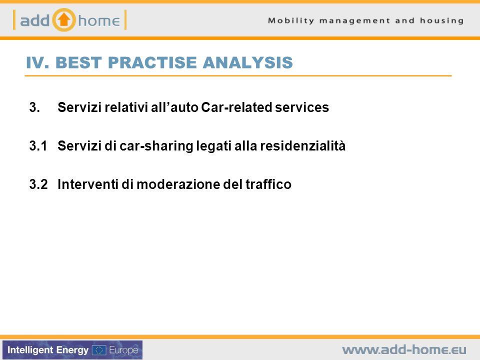 IV. BEST PRACTISE ANALYSIS 3.Servizi relativi allauto Car-related services 3.1Servizi di car-sharing legati alla residenzialità 3.2Interventi di moder