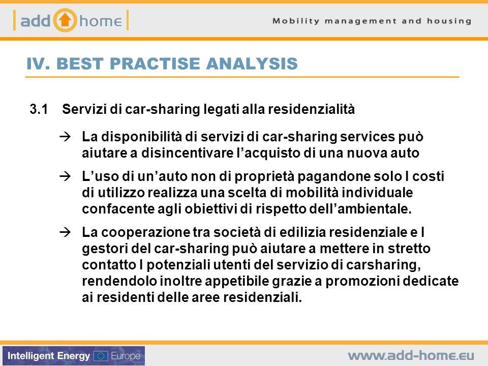 IV. BEST PRACTISE ANALYSIS 3.1 Servizi di car-sharing legati alla residenzialità La disponibilità di servizi di car-sharing services può aiutare a dis
