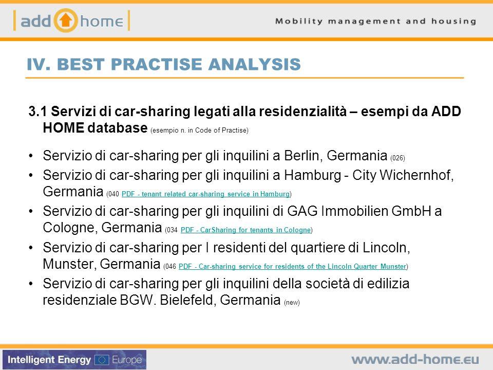 IV. BEST PRACTISE ANALYSIS 3.1 Servizi di car-sharing legati alla residenzialità – esempi da ADD HOME database (esempio n. in Code of Practise) Serviz
