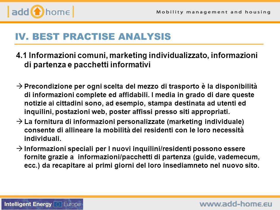 IV. BEST PRACTISE ANALYSIS 4.1 Informazioni comuni, marketing individualizzato, informazioni di partenza e pacchetti informativi Precondizione per ogn